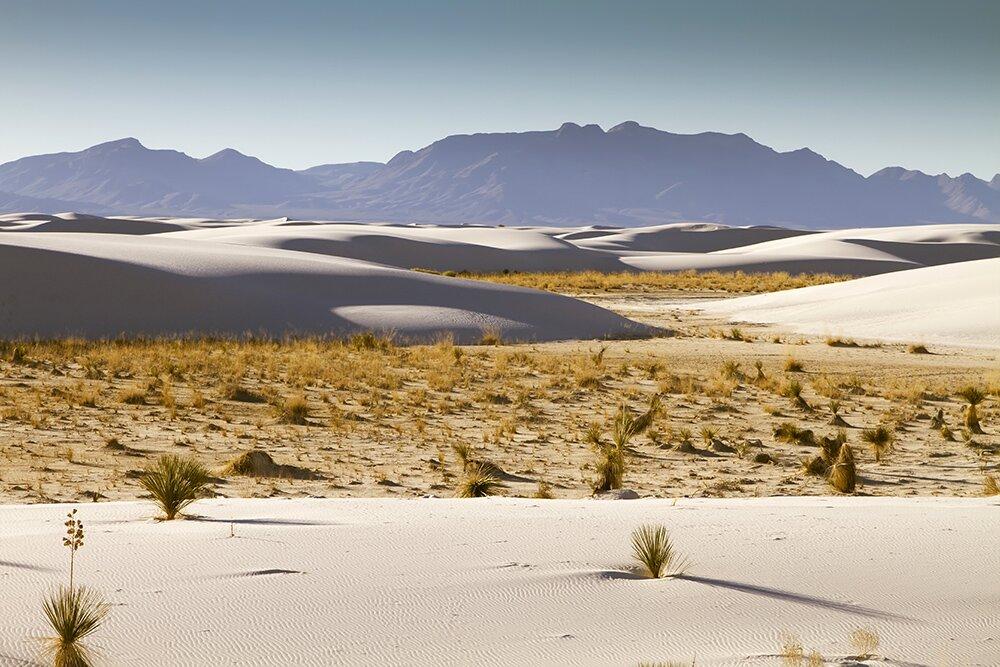 Гипсовые дюны Национального памятника «Белые пески» (Нью-Мексико, США)